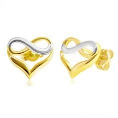 Cercei din aur 585 - inimă bicoloră cu semnul infinitului