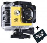 Camera Sport iUni Dare 50i HD 1080P, 12M, Waterproof, Galben + Card MicroSD 8GB Cadou