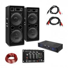 Skytec SPL700EQ, set de amplificator, cu 2 difuzoare, consolă de mixaj