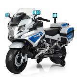 Motocicleta electrica de politie, pentru copii , BMW II, alb cu albastru