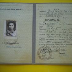 HOPCT CARNET DIPLOMA DE TEHNICIAN MINISTERUL GOSP COM IND LOCALE 1954 CONSTANTA