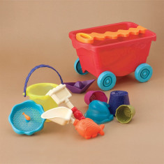 Jucarii nisip si carucior rosu B.Toys