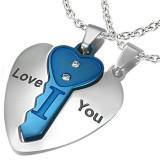 Pandantiv dublu din oțel, inimă argintie cu cheie albastră, inscripție, zirconii