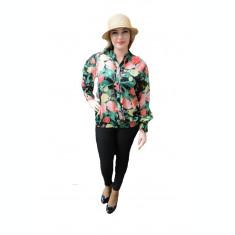 Bluza tinereasca de vara, primavara, neagra cu flori multicolor