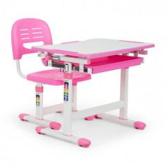 OneConcept Annika, birou de scris pentru copii, set de două piese, masă, scaun, reglabil pe înălțime, roz
