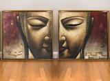 Tablou Budah 2 paneluri. Pictura dimensiune mare. Pictura acrilic 79x160 cm, Abstract, Ulei, Realism