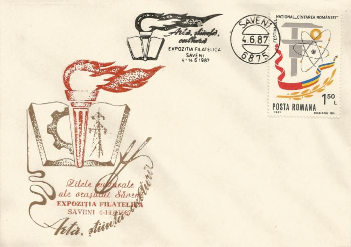 România, Expoziţia filatatelică Artă, ştiinţă, cultură, plic, Săveni, 1987