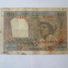 Cumpara ieftin Raritate!Comores/Comoros-Banca  Madagascarului 50 Francs 1963 cu supratipar rosu