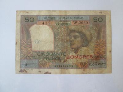 Raritate!Comores/Comoros-Banca  Madagascarului 50 Francs 1963 cu supratipar rosu foto