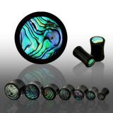 Plug de ureche în formă de șa din material organic negru, cerc realizat din scoică abalone - Lățime: 5 mm