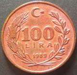 Moneda 100 LIRE - TURCIA, anul 1989   *cod 3233, Europa