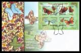 2002 Romania, FDC Fluturi endemici din Romania, bloc LP 1591, plic prima zi, Romania de la 1950, Fauna