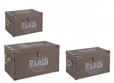 Set 3 cufere depozitare verde Paris 60 cm x 35 cm x 34 h foto