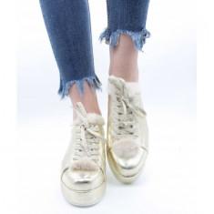 Pantofi din piele naturală 39 Auriu
