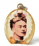 Pandant din argint și lucit - portret de doamnă sepia vintage