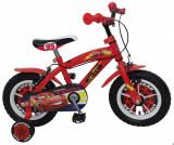 "Bicicleta pentru baieti Cars 12"", cadru din otel, roti pneumatice si roti ajutatoare, Stamp"