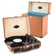 Auna Peggy SUE RECORD COLLECTOR,maro, set de gramofon, Retro Gramofon + valiză pentru discuri