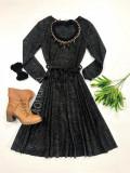 Rochie midi ieftina de toamna neagra cu maneca lunga