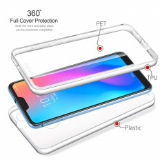 Husa silicon + plastic protectie 360° fata + spate pt Samsung Galaxy A40 / A50, Alt model telefon Samsung, Transparent
