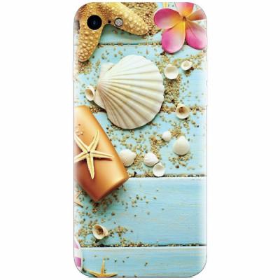 Husa silicon pentru Apple Iphone 6 Plus, Blue Wood Seashells Sea Star foto