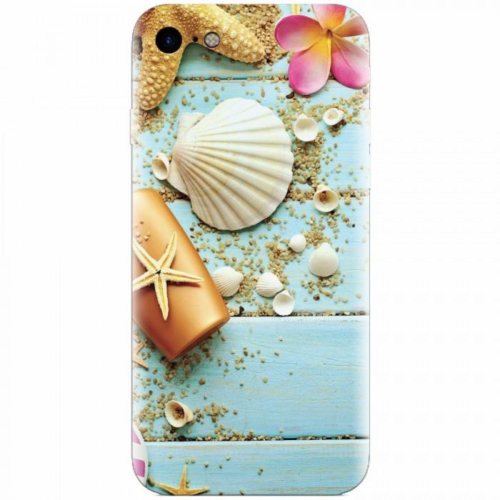 Husa silicon pentru Apple Iphone 6 Plus, Blue Wood Seashells Sea Star