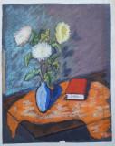 Vaza cu flori si carte - semnat B.Goransser, Natura statica, Pastel, Altul