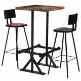 VidaXL Set mobilier de bar, 3 piese, multicolor, lemn masiv reciclat