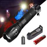 Lanterna CREE LED SMD, 10000 lm, raza 500 m, Zoom reglabil, 4 moduri iluminare, aluminiu, rezistenta la apa
