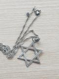 Medalion - pandantiv si lantisor argint 925  STEAUA LUI DAVID