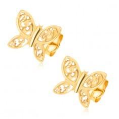 Cercei din aur galben de 14K - fluturi strălucitori, ornamente filigranate