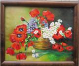 Tablou / Pictura cos cu flori semnat Cimpoesu., Ulei, Realism