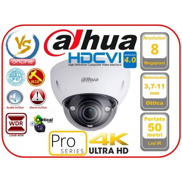 Camera supraveghere interior Dahua 8 MP HAC-HDBW3802E-Z lentila motorizata 3.7-11mm, IR 50m