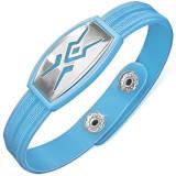 Brățară din cauciuc albastru deschis, simbol tribal, cheie grecească