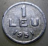 7.663 ROMANIA RPR 1 LEU 1951, Aluminiu