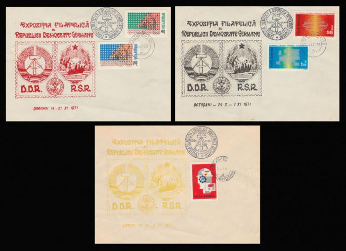1971 Expozitia filatelica RDG, plicuri stampile speciale Botosani Dorohoi Saveni