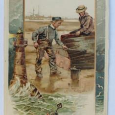 SCENA MARITIMA - DESEN , CARTE POSTALA ILUSTRATA , CROMOLITOGRAFIE , CIRCULATA , DATATA 1902