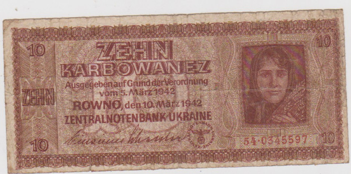 10 KARBOAVE UKRAINA-OCUPATIA GERMANA 1942/F