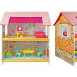 Cumpara ieftin Casuta de papusi din lemn, 2 nivele, accesorii colorate dormitor si sufragerie