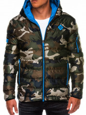Geaca pentru barbati, camo-albastru, de iarna cu gluga, cu fermoar, model slim - C367 foto