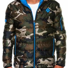 Geaca pentru barbati, camo-albastru, de iarna cu gluga, cu fermoar, model slim - C367