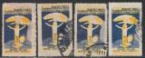 1924 Romania - 4 Timbre fiscale circulate Societatea Principele Mircea varietati