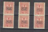 1918 - MVIR, supratipar pe taxa plata- timbre de ajutor, 10 bani rosu, 3 perechi