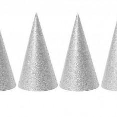 Coifuri argintii de petrecere cu sclipici - 20 cm, Radar 50505, set 6 bucati