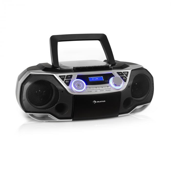 Auna Roadie 2K, boombox, CD player, casetofon, DAB / DAB +, UKW, bluetooth, argintiu