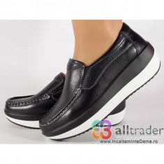 Pantofi negri talpa convexa piele naturala dama/dame/femei (cod AC020-15)
