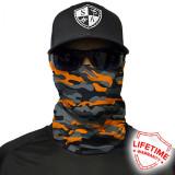 Bandana/Face Shield/Cagula/Esarfa - Orange&Grey Military Camo, made in USA, Din imagine