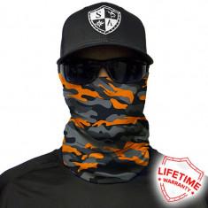 Bandana/Face Shield/Cagula/Esarfa - Orange&Grey Military Camo, made in USA