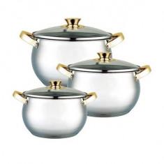 Set 3 oale din inox cu capace din sticlă, Grunberg