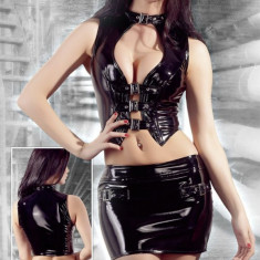 Set Bustiera si Fusta Latex, Black Level
