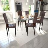 Set de sufragerie cu scaune zvelte maro 6 buc și masă de sticlă, vidaXL